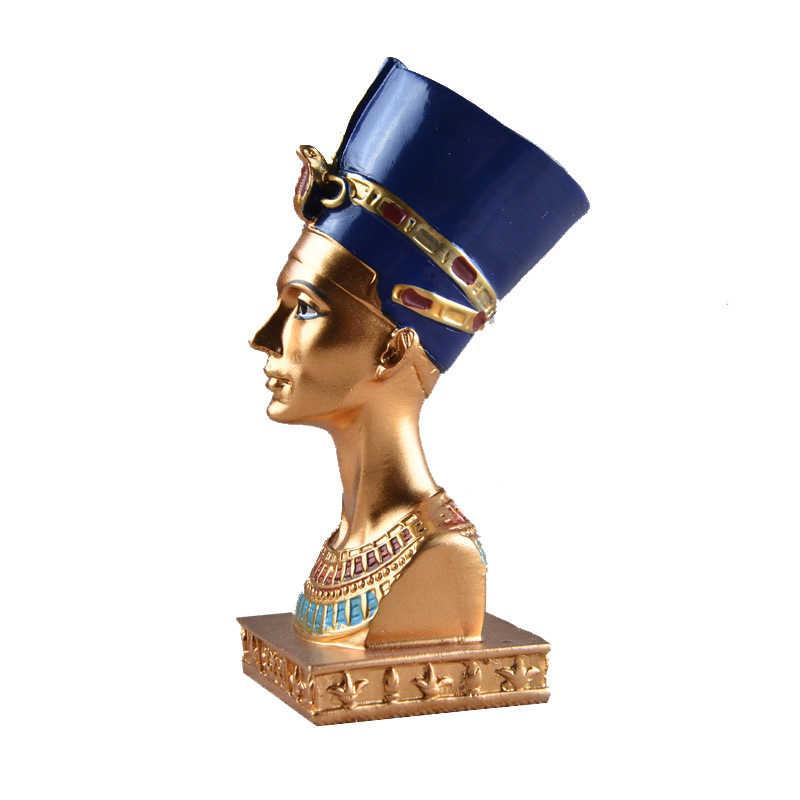Vilead 11.5cm resina cabeça da rainha egípcia figurinhas personagem retro artesanato enfeites de entrada acessórios para casa presentes