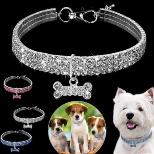 1Pcs Rhinestone Dog Collar and Leash Soft Bow for Doggie Puppy Cat Small Pet Harness Collars 1