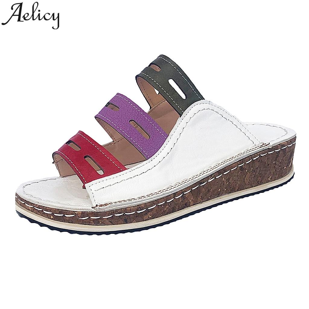 JAYCOSIN New 2019 Hot Platform Sandals Women High Heel Summer Shoes Fashion Straped Slippers Beach Flip Flops Solid Slides
