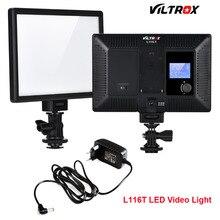 Viltrox l116t luz de vídeo led de estúdio, super fino, 3300k 5600k, bi cor, display lcd cri95 + adaptador dsrl câmera camcorder + 2m ac