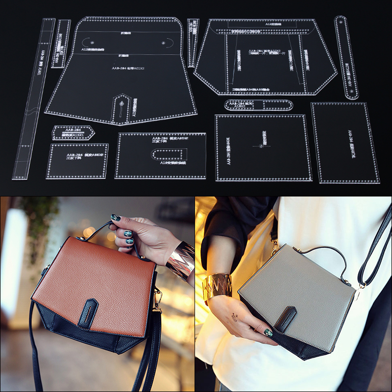 Handmamde Handbag Acrylic Template Leather Pattern DIY Hobby Leathercraft Sewing Pattern Stencils 22*17*8cm
