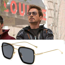 Men Sunglasses Tony Stark Fashion Avengers Flight Style Square Brand Design Sun Glasses Oculos Retro
