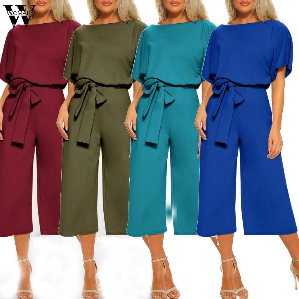 Womail Bodysuit Women Fashion Summer Short Sleeve Long Jumpsuit Loose Clubwear  With Belt Wide Leg Jumpsuit Casual 2019 M530