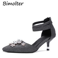 Bimolter Women Sequined Cloth Crystal Pumps Elegant Wedding Shoes Pointed High Thin Heel Sexy Fashion Office Party PXEA007