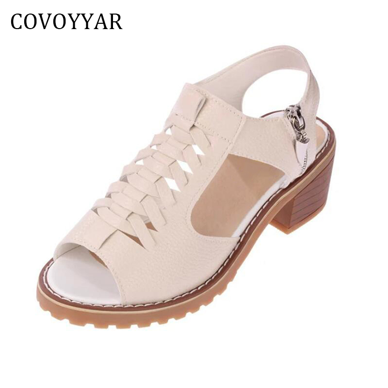 COVOYYAR 2018 Retro Weave Women Sandals Summer Peep Toe Side Zip Slingback Lady Sandals  ...