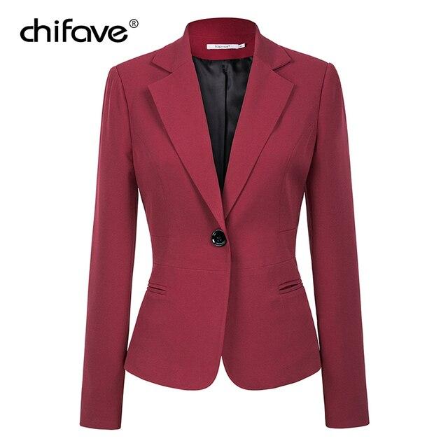 chifave Blazer feminino 2018 Autumn Winter Elegant Women's Short Jacket Plus Sizes Office Style Slim Wine&Black Blazer Jackets