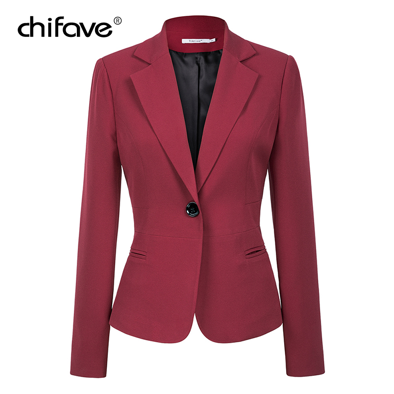 chifave Blazer feminino 2019 Autumn Winter Elegant Women's Short Jacket Plus Sizes Office Style Slim Wine&Black Blazer Jackets