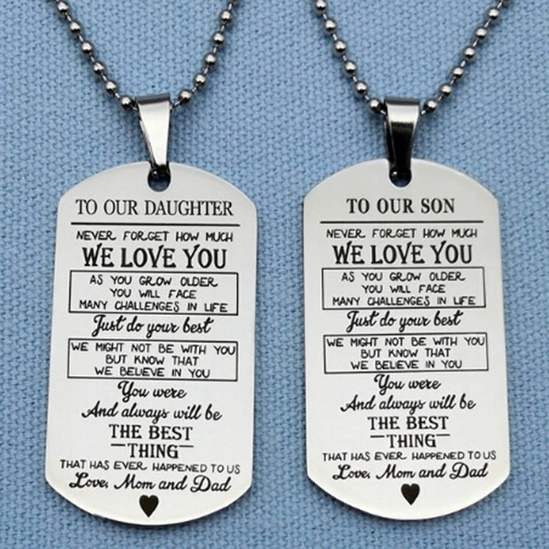adecb52e90fc3 Fashion Silver Color Square Pendants Necklace To Our Son Daughter Letters  Military Licensing Pendants Necklace