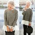 Женщины Моды Новый Стенд Воротник Свободные Длинным Рукавом Повседневная Пуловер Свитер Рубашку Пальто Куртки