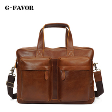 Men's crazy horse leather briefcase Brown double interlayer cow leather business bag Laptop handbag big shoulder bag work tote