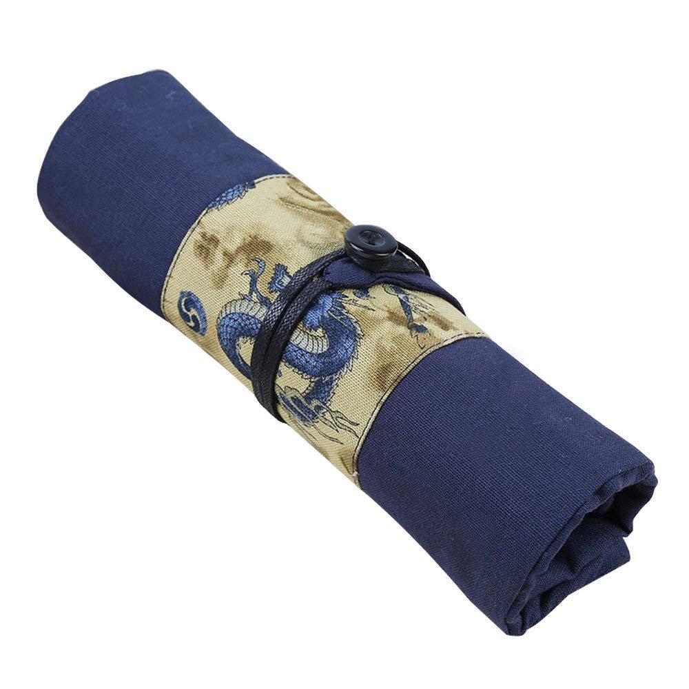 Pencil Pen Wrap, Dragon Pattern Pencil Pen Case, Fountain Pen Case Wrap Roll Holder striped wrap pencil bag