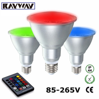 Rayway New E27 LED Par30 10w RGB Spotlight Dimmable Umbrella Light Bulb Aluminum Glass Waterproof Remote