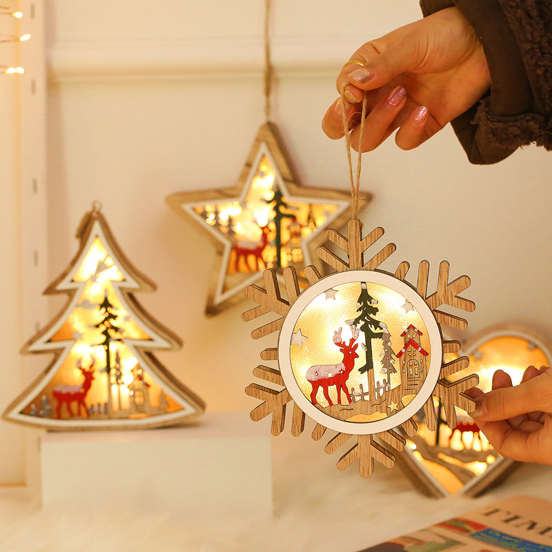 Wooden LED Light Star Heart Round Tree Shape Battery Powered Lamp Christmas Decoration