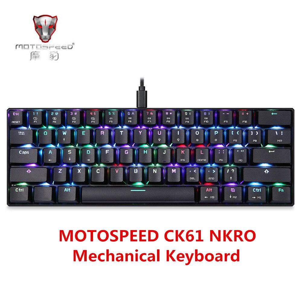 MOTOSPEED CK61 NKRO Mechanische Tastatur Mit Kailh BOX Schalter 61 Anti-Geister Schlüssel Hintergrundbeleuchtung Wried Gaming Tastatur 2 msek antwort Geschwindigkeit