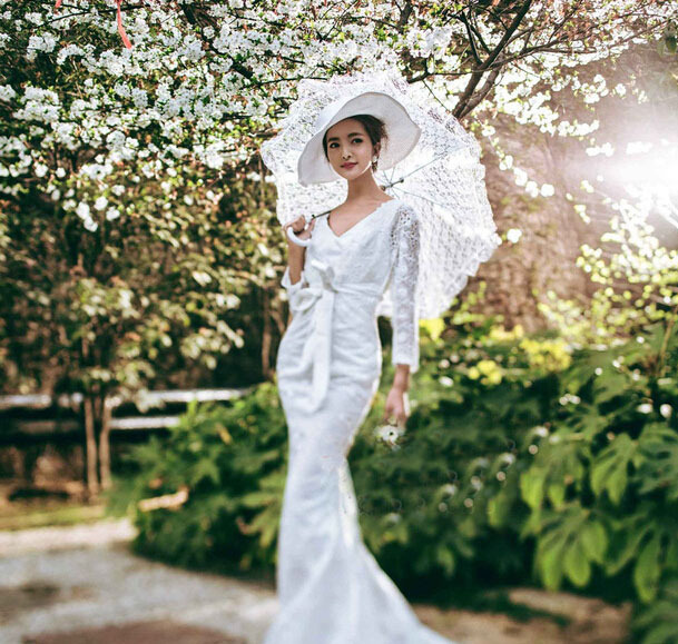 17 07 Large Size Lace Auto Opening Wedding Umbrella Bridal Parasol Accessories For Wedding White Beige Red More Colors 2955 Dans Parapluies De