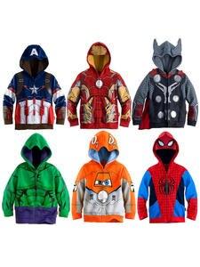 Spiderman Sweatshirt Jacket Hulk Marvel Boys Hoodies Avengers Superhero Iron Man Captain-America