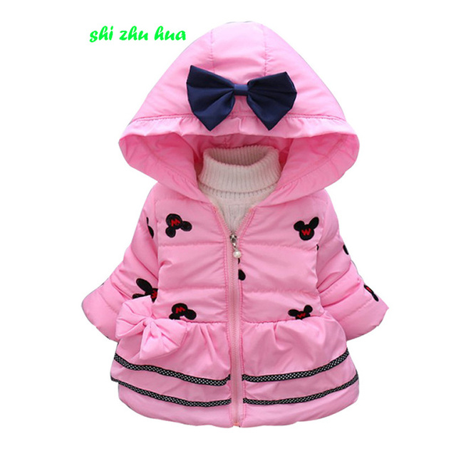 6ba4bc7ac8008 Vêtements bébé fille hiver coton manteau manteau bébé à capuche chaud veste  manteau couleur unie cartoon