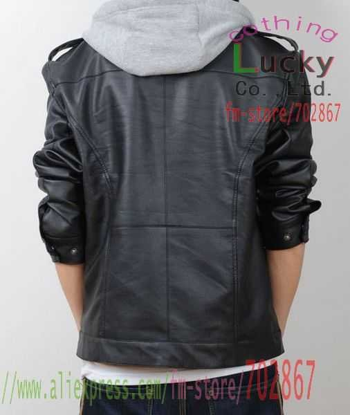 Images of Leather Jacket With Hood For Men - Reikian