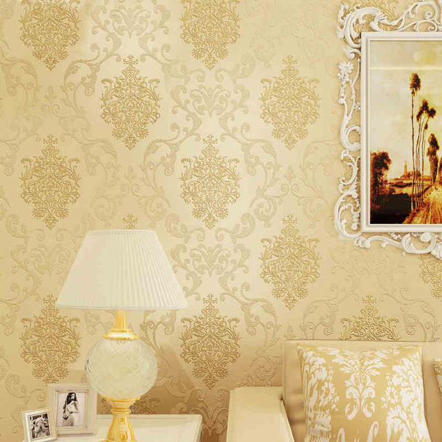 Non woven wallpaper damask european vintage wallpaper wall covering paper for living room backdrop textured