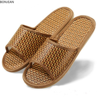 Slippers Shoes Summer New Unisex Bamboo Weaving Room Indoor Home Rubber Antiskid Sole Flats Plus Size Leisure Sandals