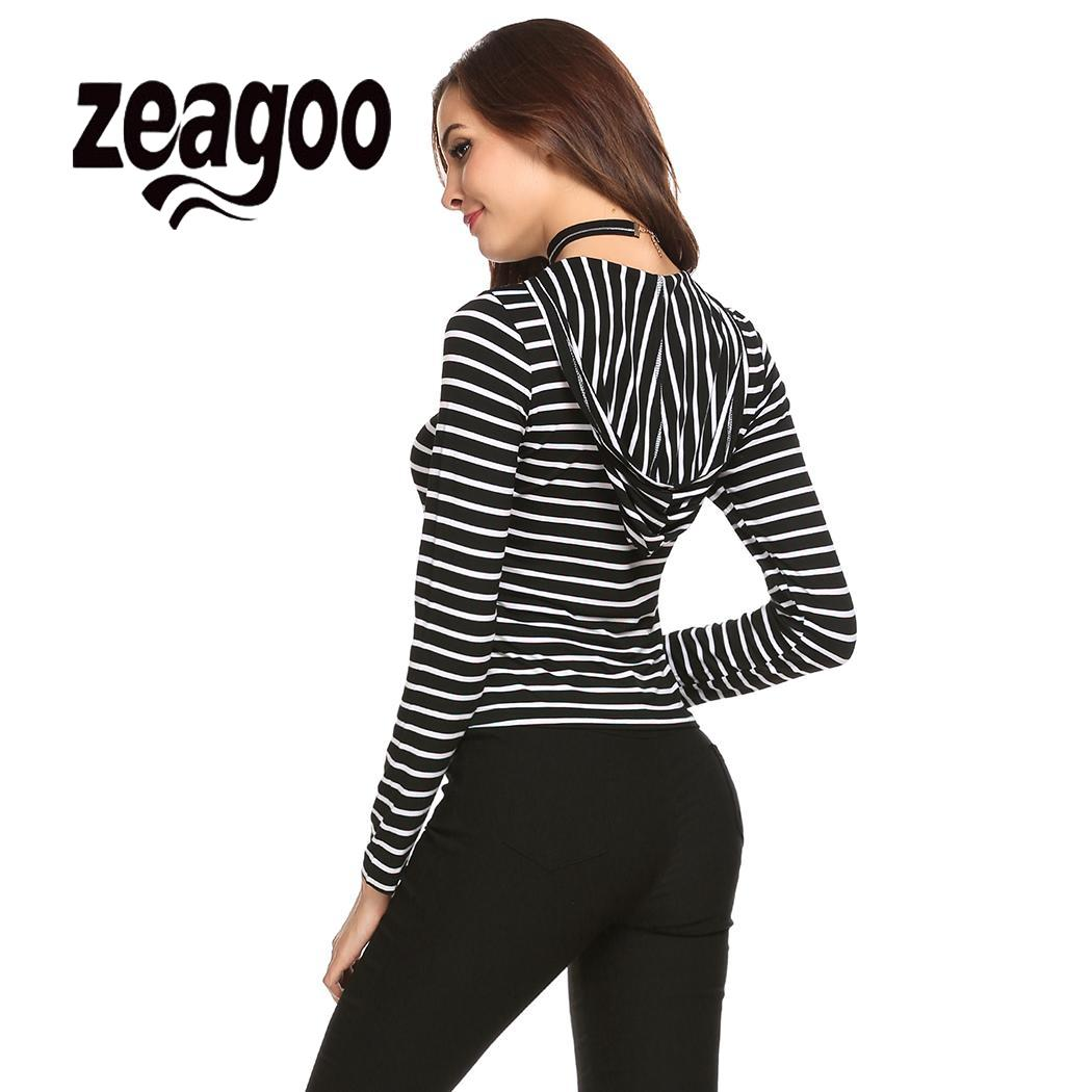 None Lace Hooded V-Neck Criss Cross Women Up Long Sleeve Striped Slim Fit T-Shirt Top