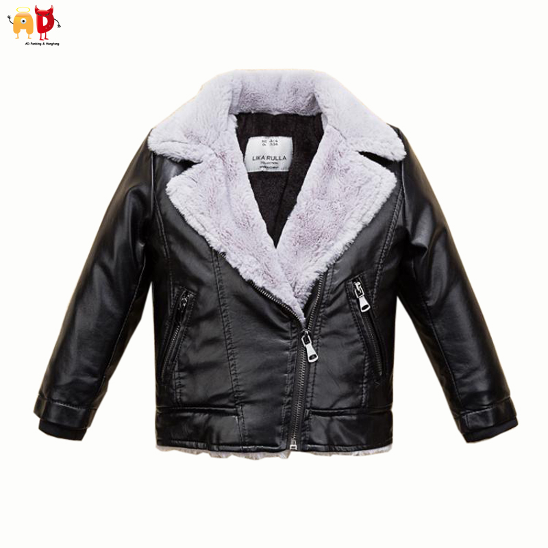 AD Well Design Fleece Thermal Boys Winter Motor Leather Jacket Warm Girls Coat Faux Quality Breathable Soft Children's Outwear stress reliever screaming hen squeezy toy large