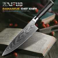 XITUO Damascus Chef Knife 67-layer Japanese VG10 Damascus Steel Professional Chef's Slicer Salmon Slicing Kitchen Santoku Knife