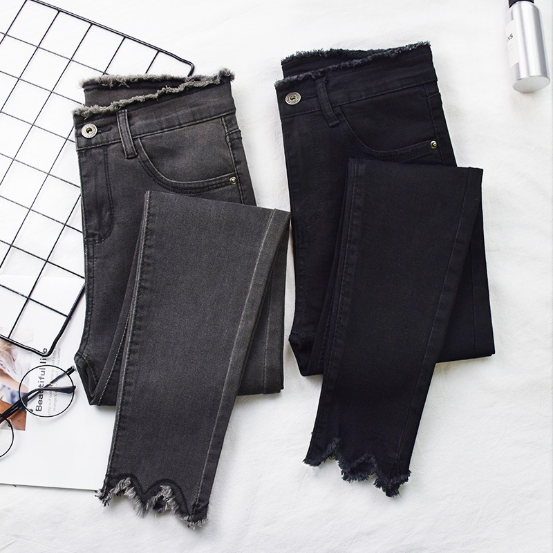 2019 Women   Jeans   High Elastic Stretch   Jeans   Female Washed Denim Skinny Female Ankle Pencil Pants Stretch Streetwear Trousers