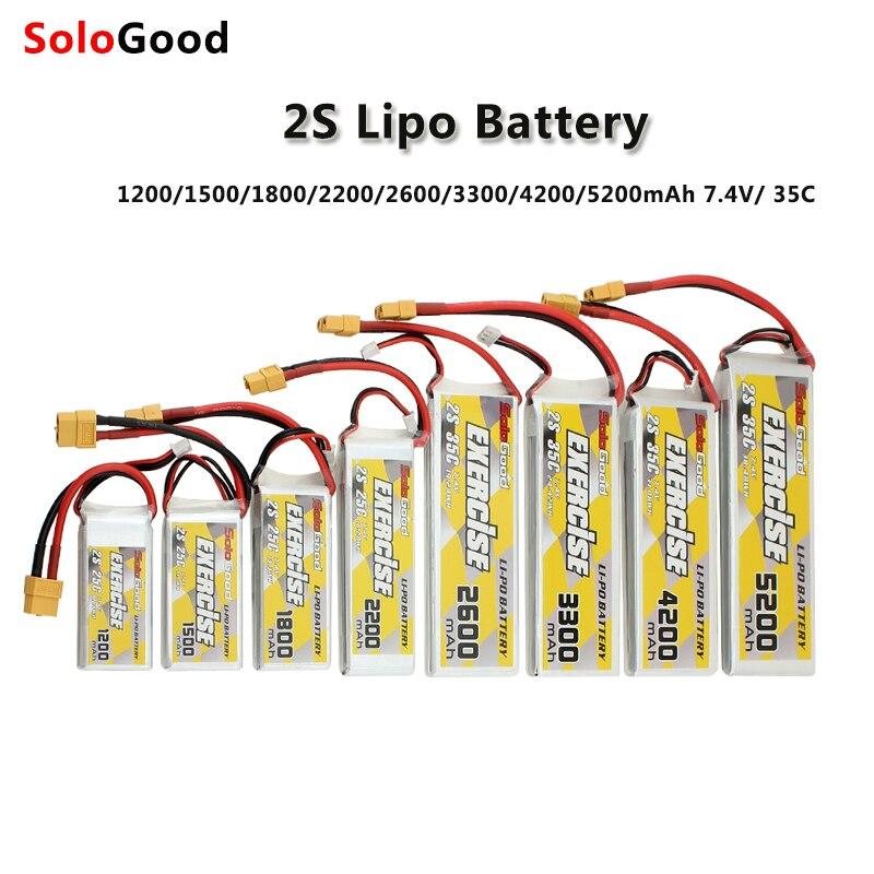 2 S Bateria Lipo 7.4 V 1200 mAh 1500 mAh 1800 mAh 2200 mAh 25C 2600 mAh 3000 mAh 4200 mAh 5200 mAh Bateria Lipo com XT60 35C Plug