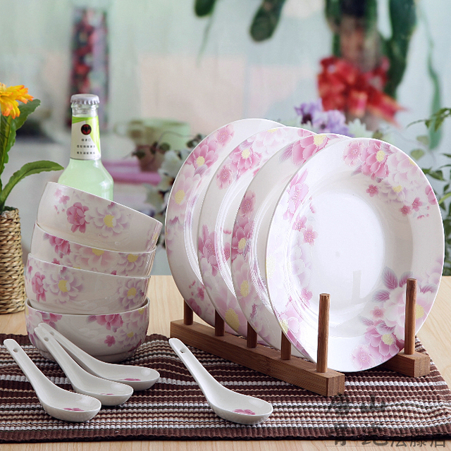 12-piece set fine bone china dinnerware set pink rose painting chinese & 12 piece set fine bone china dinnerware set pink rose painting ...