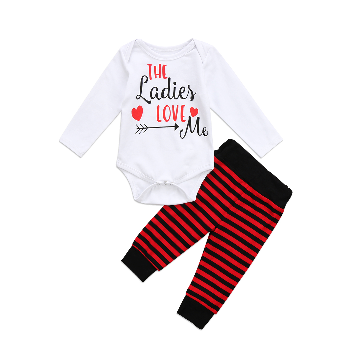 2Pcs Cute Baby Suit Newborn Baby Unisex Letter Rompers Infant Baby Boys Girls Striped Pant Autumn Baby Jumper Outfits Clothes
