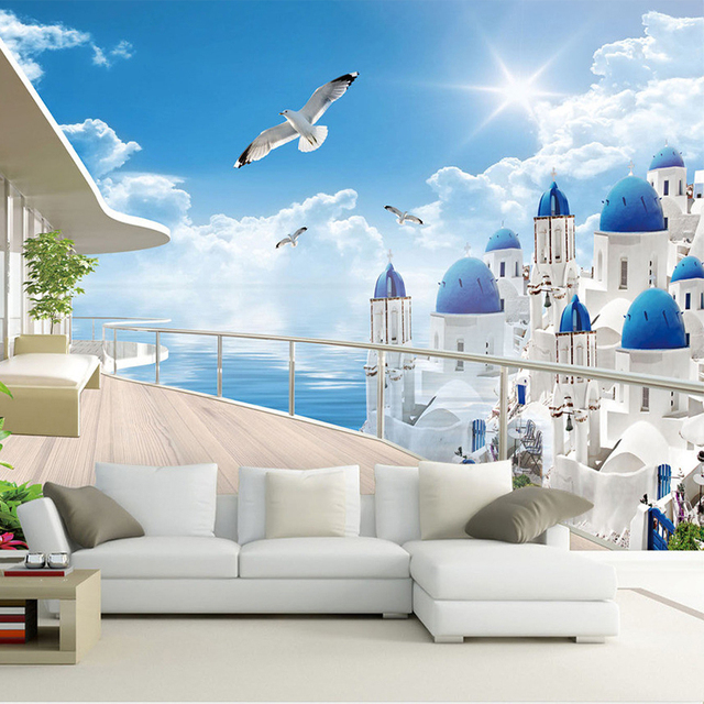 Mediterania seaside landscape puri balkon foto wallpaper ruang tv sofa latar belakang wall decor papel de