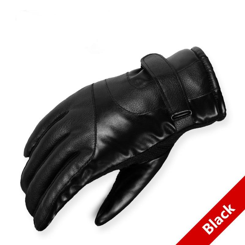 2020 Hot Sale Men Sheepskin Gloves PU Leather Glove For Men Winter Outdoor Warm Fur Thickening Thermal Patchwork Non-slip Gloves