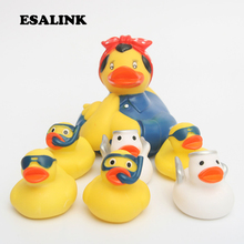 7pcs 2019 NEW floating ducks Cute Baby Water Bath Toys  Nanny duck Rubber Duck Classic Gift For Boys Girls