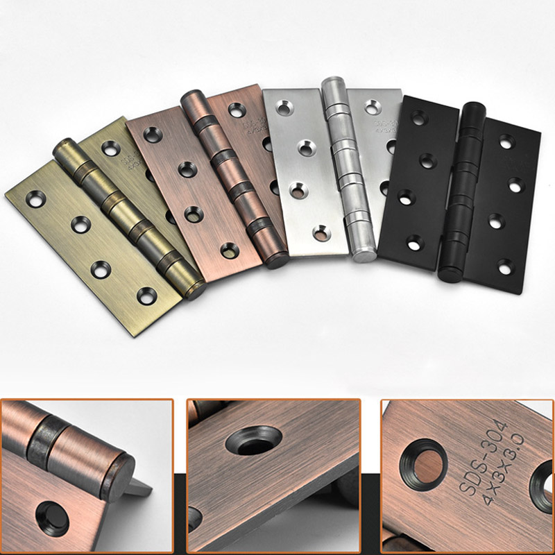 1 Pair  Door Hinges Stainless Steel 4 Inch Wood Doors Cabinet Drawer Box Interior Hinge Furniture Hardware Accessories ALI88 2pcs set stainless steel 90 degree self closing cabinet closet door hinges home roomfurniture hardware accessories supply