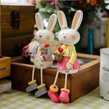 AIBEI-Large Resin MF Rabbit 2PCS/SET Cute LOVE long-eared Rabbit Figurine dolls Birthday Gifts Wedding Decoration