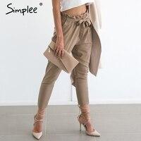 Simplee Apparel OL Chiffon High Waist Harem Pants Women Stringyselvedge Summer Style Casual Pants Female 2016