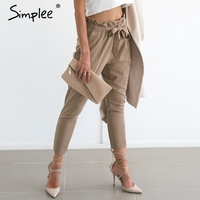 Simplee Apparel OL Chiffon High Waist Harem Pants Women Stringyselvedge Summer Style Casual Pants Female 2016