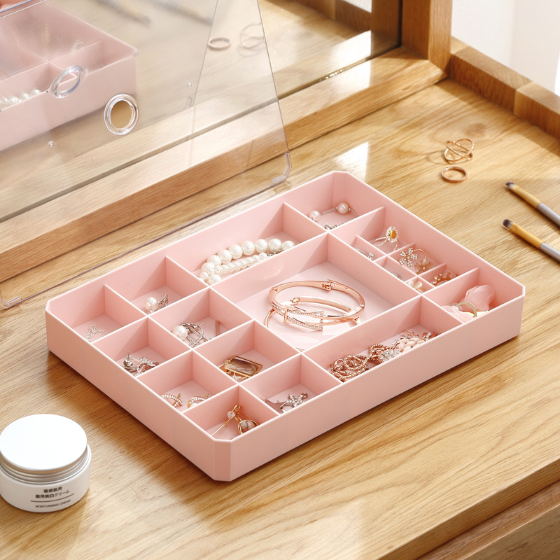 Image 4 - 1 Pcs Simple Multi grid Jewelry Storage Box For Jewelry Storage Finishing With Lid Visible Square Earrings Ring Box-in Storage Boxes & Bins from Home & Garden