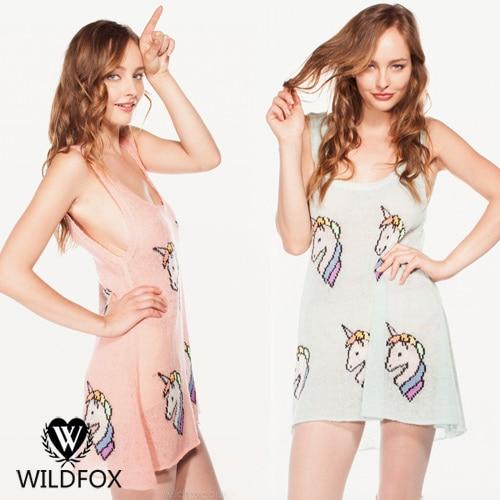 9def57321e7 Wildfox summer unicorn vest ultra thin Women sweater dress-in Dresses from  Women s Clothing on Aliexpress.com