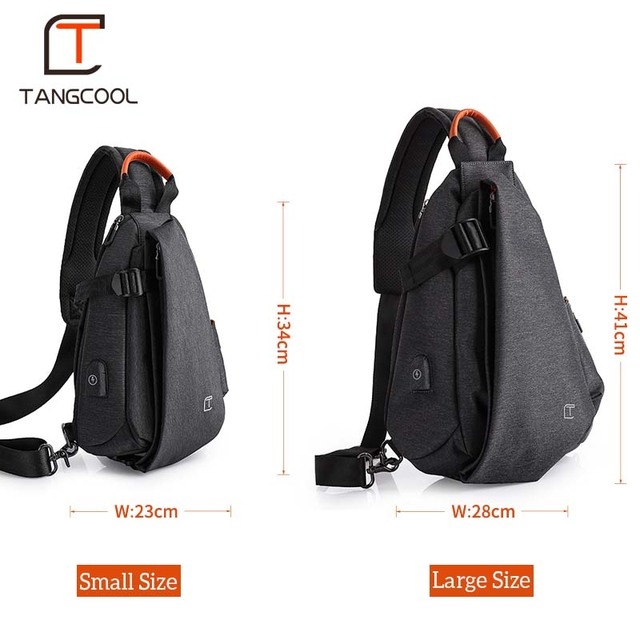 Tangcool Men Casual USB Charging Messenger Bag Fashion Men Shoulder Travel Chest Bag Pack Anti Theft Crossbody bags 4