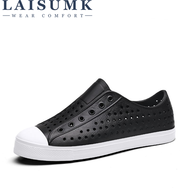LAISUMK 2018 Hole Summer Clogs For Men Lovers Sandals Cut-Outs Shoes Slip On Flats Casual Slippers Men Flip-flops Male