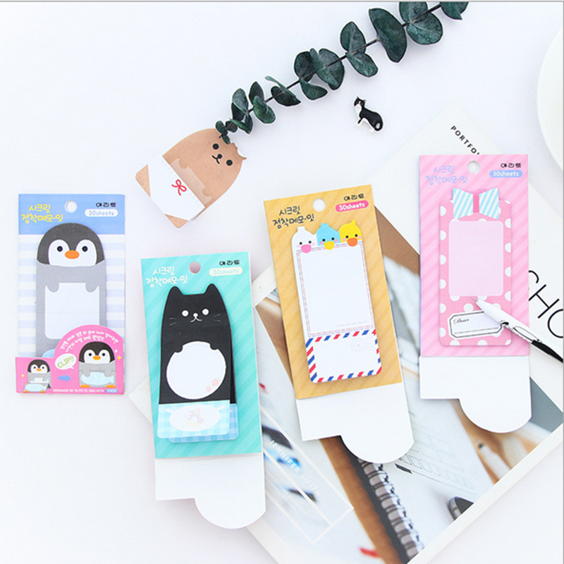 1X cartoon animals stationery Memo Stickers Notes Portable message stickers Pad Sticky Cute Post Diy Office School Stationery