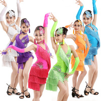 5 PCS Children Latin Dance Dress Child Ballroom Stage Clothing Girls Latin Dance Skirts Kids Practice