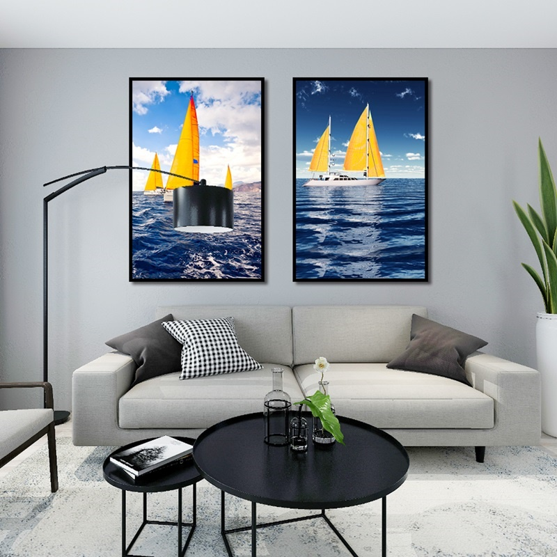 Nordic Posters and Prints Minimalist Sea Sailing Landscape Decorative Painting Modular Canvas Art Wall Pictures for Home Decor in Painting Calligraphy from Home Garden