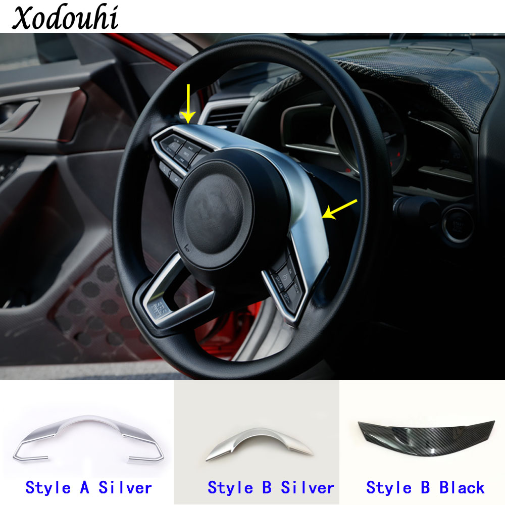 Car detector stick styling ABS Chrome Steering wheel Interior Kit Trim lamp frame parts 1pcs For Mazda CX-3 CX3 2016 2017 2018 for mazda cx 5 cx5 2nd gen 2017 2018 interior custom car styling waterproof full set trunk cargo liner mats tray protector