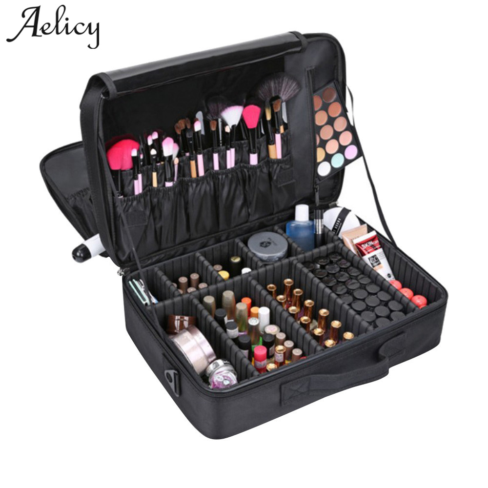 все цены на Aelicy 3 Layers Waterproof Makeup Bag Oxford New Women Travel Cosmetic Bag Organizer Case Large Capacity Solid Wash Toiletry Bag