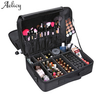 Aelicy 3 Layers Waterproof Makeup Bag Oxford New Women Travel Cosmetic Bag Organizer Case Large Capacity Solid Wash Toiletry Bag