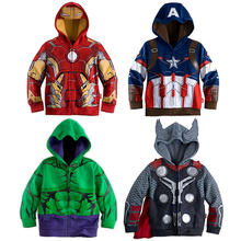Kids Boys Superhero Avengers Hulk Ironman Captain America Thor Cosplay Coat Jacket Hoodie Long Sleeves Clothes Spring Autumn