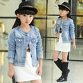 Coreano 2017 Primavera Verão Meninas Moda Denim Jacket Kid Casual Estilo Curto Gola Redonda Beading da Longo-Luva Casacos Casaco G580